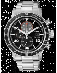CITIZEN orologio uomo acciaio con cassa nera e grigia multifunzione