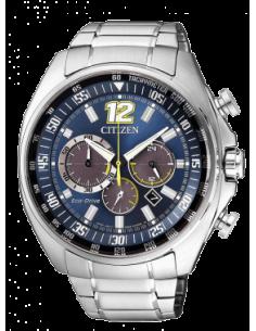 CITIZEN orologio uomo acciaio multifunzione con cassa azzurra con dettagli verdi