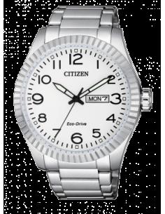 CITIZEN orologio uomo acciaio con cassa bianca e dettagli neri