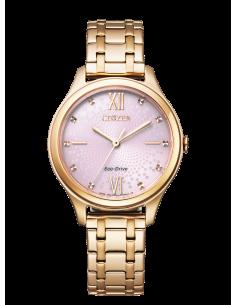 CITIZEN orologio donna in acciaio color oro con cassa rosata