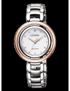 CITIZEN orologio donna in acciaio con cassa bianca contornata da acciaio rosato