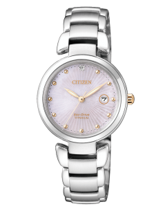 CITIZEN orologio donna in acciaio color oro con cassa rosata EW2506-81Y