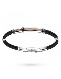 Zancan Bracciale Argento + Oro Rosa + Kevlar Nero ESB059R-NE
