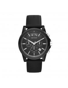 Armani Exchange Orologio Chrono Uomo Outerbanks Black in acciaio e cinturino in silicone AX1326