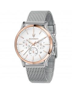 Maserati Orologio Cronografo in acciaio bianco e rosato con cinturino maglia mesh R8873618009