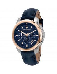 Maserati Orologio Cronografo in acciaio rosato con cinturino in pelle Blu R8871621015