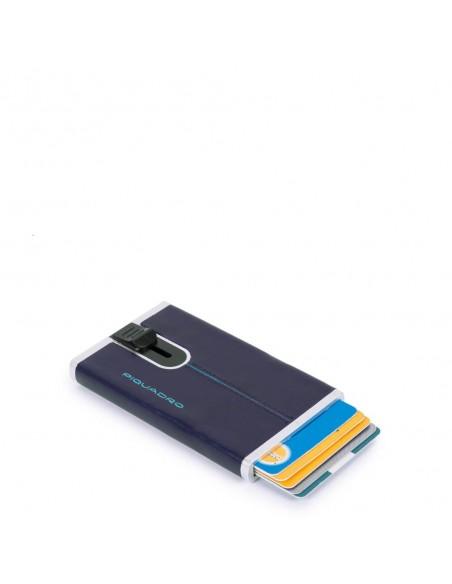Piquadro Porta Carte di Credito con Sliding System - Blu