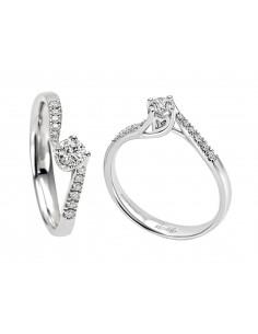 anello solitario e pavè diamanti ANNIVERSARY RECARLO kt. 0.20 diamanti e oro bianco