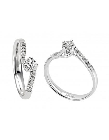 anello solitario e pavè diamanti ANNIVERSARY RECARLO kt. 0.45 diamanti e oro bianco