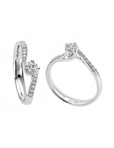 anello solitario e pavè diamanti ANNIVERSARY RECARLO kt. 0.55 diamanti e oro bianco