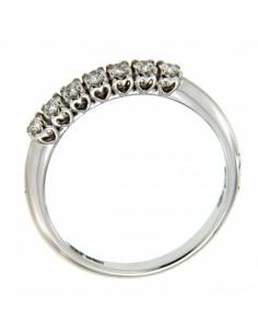anello fedina 7 pietre ANNIVERSARY RECARLO kt. 0,60 diamanti e oro bianco