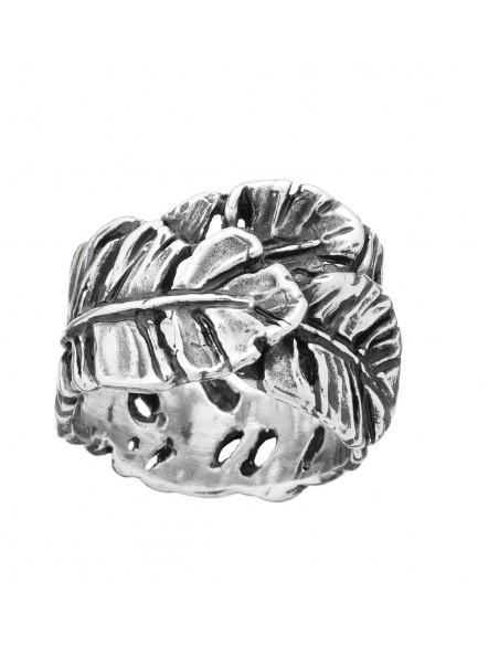 Anello argento fascia PIUME Giovanni RASPINI