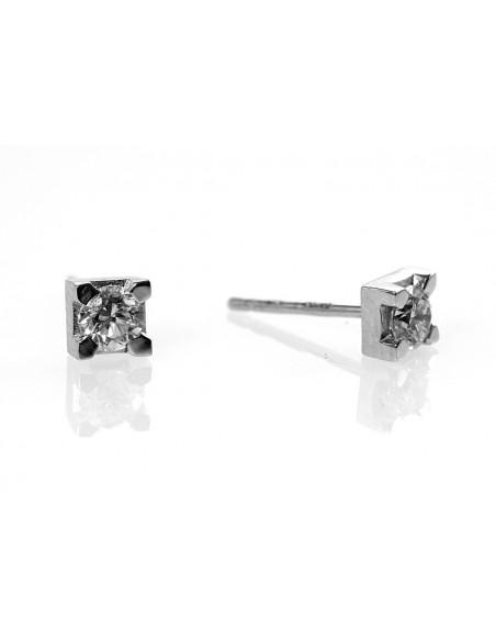 orecchini solitario diamanti OPERA ITALIANA kt.0.24 diamanti e oro bianco