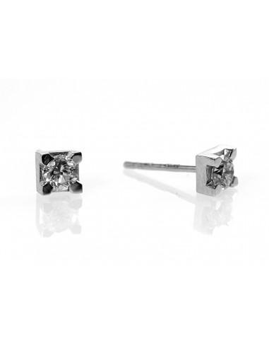 orecchini solitario diamanti OPERA ITALIANA kt. 0.32 diamanti e oro bianco