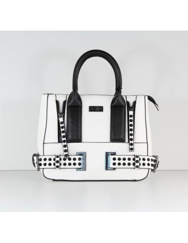 Borsa mini shopper borchie LA CARRIE BAG 161-v-764 bianco