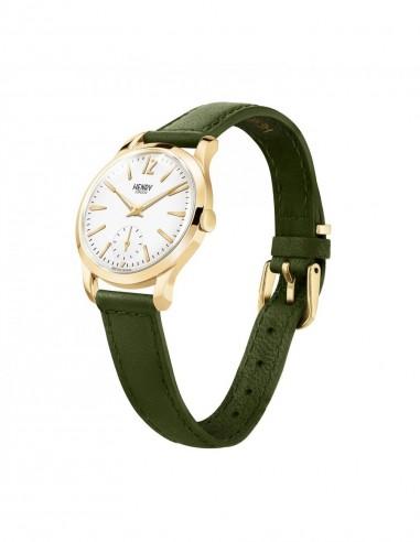 orologio HENRY LONDON Chiswich uomo quandrante bianco cintino cuoio verde