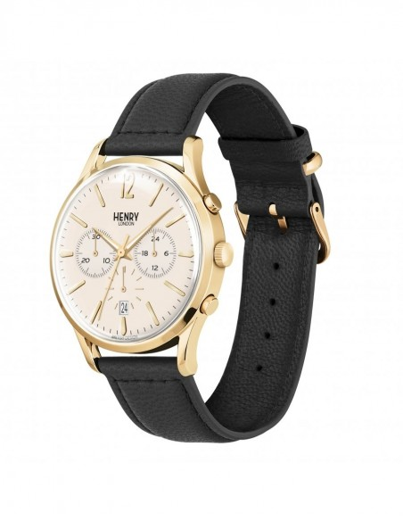 orologio HENRY LONDON Westmister chrono champagne cintino cuoio