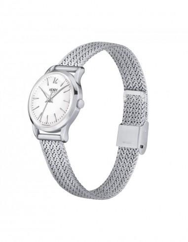 orologio HENRY LONDON Highgate bianco cintino cuoio