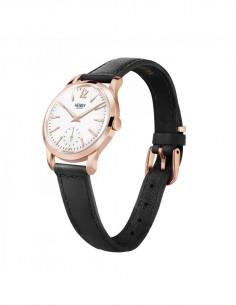 orologio HENRY LONDON Richmond donna quadrante bianco cintino cuoio nero