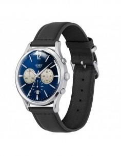 orologio HENRY LONDON Knightsbridge uomo chrono blu notte cintino cuoio