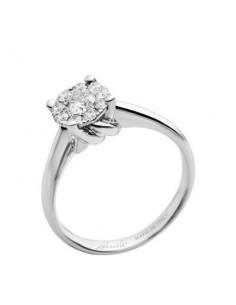 anello diamante NODO D'AMORE RECARLO kt. 0,10 oro bianco