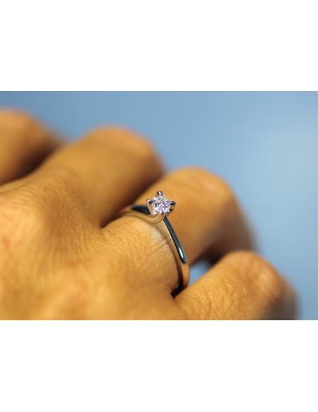 anello solitario Napoli Luxury diamante kt. 0,12 Opera Italiana Jewellery