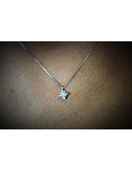 collana diamante a solitario OPERA ITALIANA kt. 0.20 diamante e oro bianco