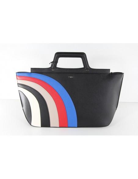 borsa shopper POMIKAKI modello RITA colore blu e nero