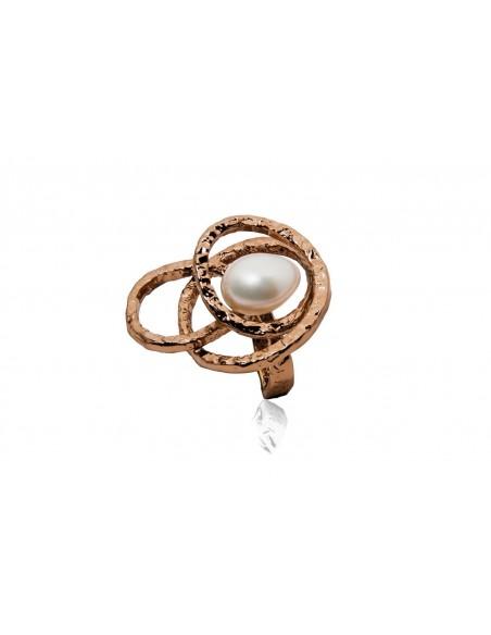 anello argento design originale con perla