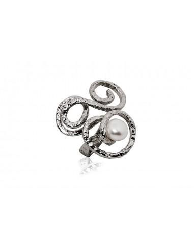 anello argento design originale perla