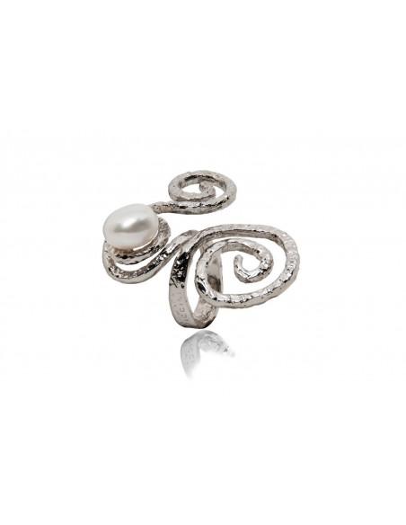 anello argento design particolare con perla