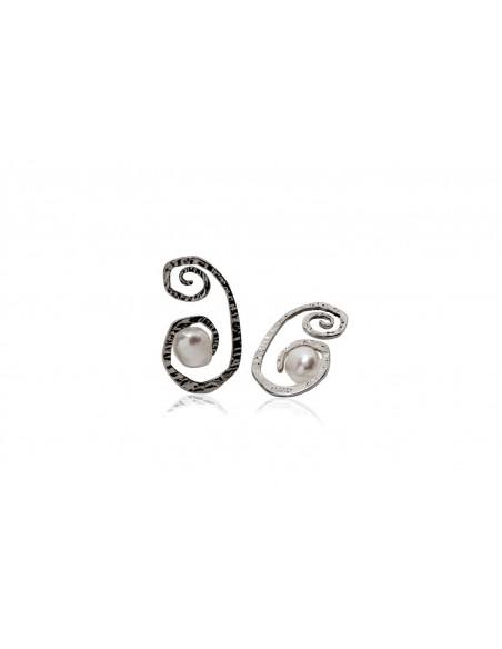 orecchini argento design originale con perla