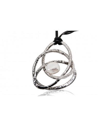 pendente argento design originale con perla e cordino in pelle