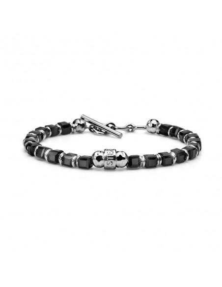 bracciale argento M.C. STERLING uomo cristalli neri