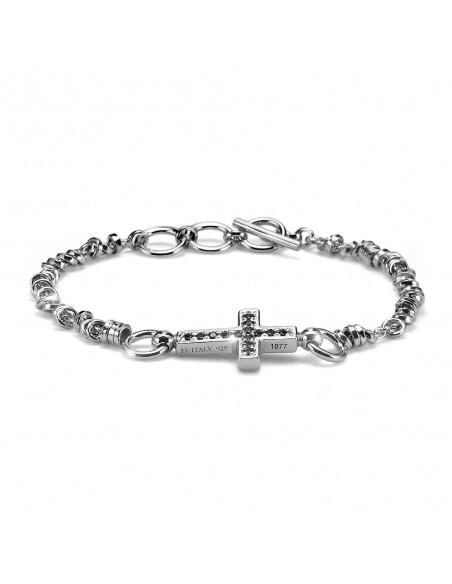 bracciale argento M.C.STERLING uomo croce e cristalli ner