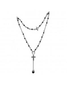 collana argento croce cristalli neri