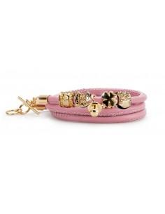 bracciale argento nascita portafortuna pelle rosa