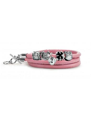 bracciale argento M.C. STERLING nascita portafortuna pelle rosa
