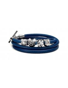 bracciale argento portaforuna pelle bleu