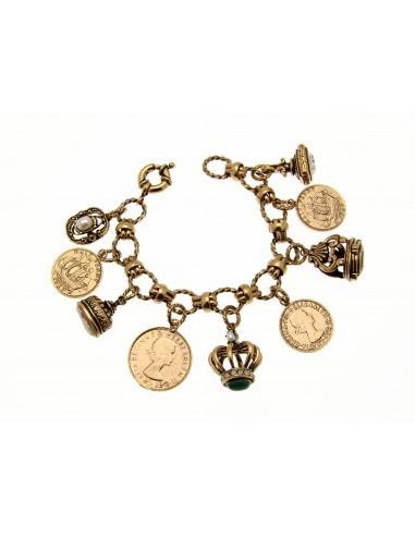 bracciale stile antico monete corone e ciondoli