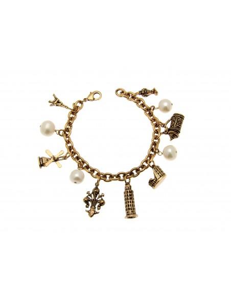 bracciale stile antico ciondoli città e perle