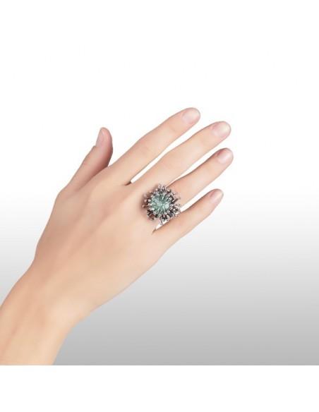 Anello argento Fiore e quarzo verde acqua Giovanni RASPINI