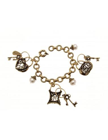 bracciale stile antico ciondoli perle e lucchetti