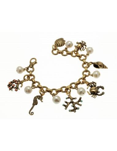 bracciale stile antico ciondoli mare perle e pietre naturali