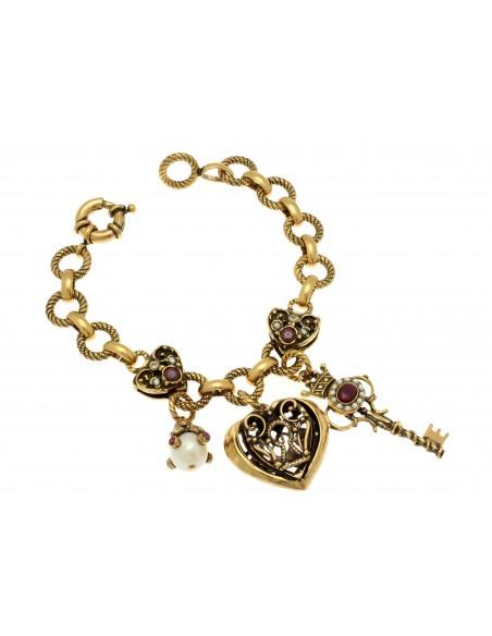 bracciale stile antico ciondoli chiave lucchetto perle e rubini