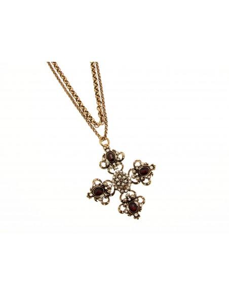 collana stile antico croce granati e perle
