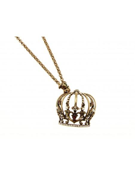 collana stile antico ciondolo ranocchio e corona granati e smeraldi