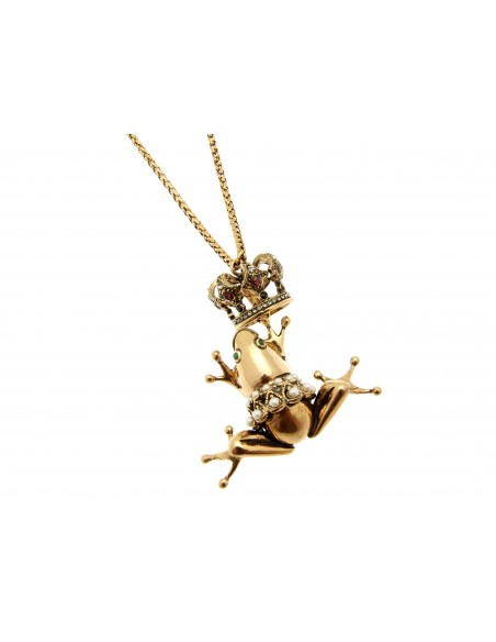 collana stile antico ciondolo ranocchio con corona granati zaffiri perle smeraldi
