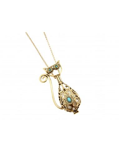 collana stile antico ciondolo gatto perle turchese
