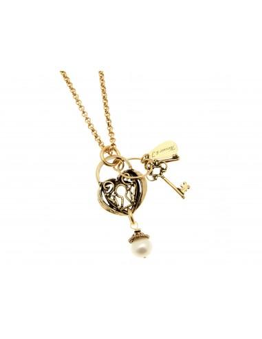 collana stile antico ciondolo lucchetto chiave e perla